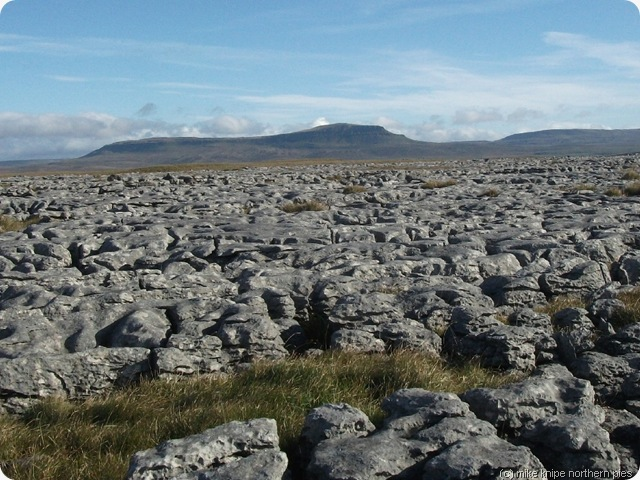 penyghent across limestone pavement