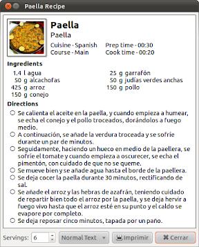 Recetas culinarias en Ubuntu