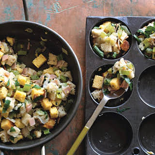 Cornbread Stuffing Muffins with Ham and Sage.