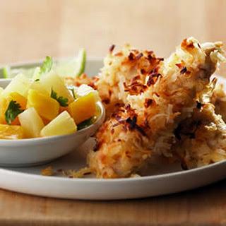 Coconut Chicken with Pineapple-Mango Salsa