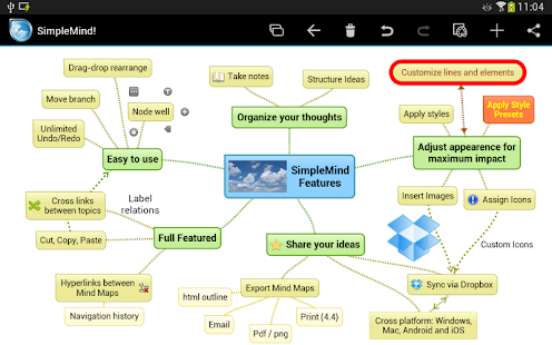 SimpleMind mind mapping - screenshot thumbnail