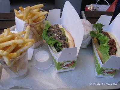 Bulgogi Hot Dogs, Bulgogi Burger, and Fries at New York Hotdog & Coffee in New York, NY - Photo by Taste As You Go
