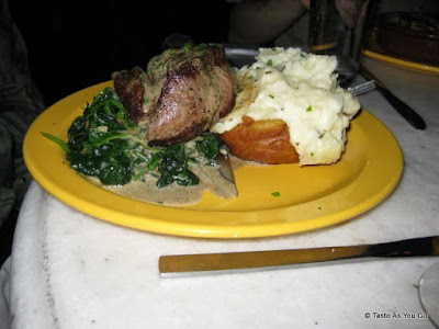 Filet Mignon with Crispy Ginger Spinach, Onion Rings, and Rosemary Mashed Potatoes | Taste As You Go