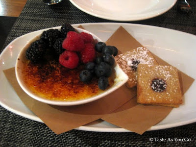 Tahitian Vanilla Creme Brulee with Raspberry Shortbread Cookies and Fresh Berries at Blue Fin in New York, NY - Photo by Taste As You Go