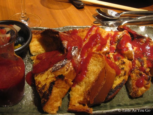 Asian Five Spice French Toast with Thai Basil and Fruit Compote at Kittichai in New York, NY - Photo by Taste As You Go
