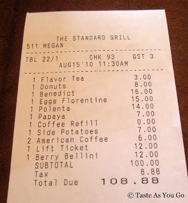 Brunch Bill at The Standard Grill in New York, NY - Photo by Taste As You Go