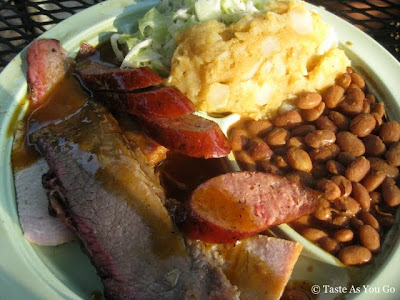 Combination Plate of Meats at The Salt Lick in Austin, TX - Photo by Taste As You Go