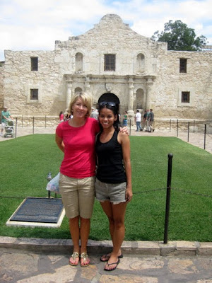 Kristina and Michelle in Front of the Alamo in San Antonio, TX - Photo by Taste As You Go