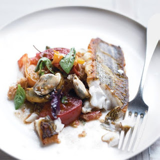 Roasted Black Bass with Mussels Panzanella.