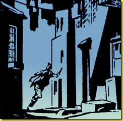 Eerie art of man running down dark street in this classic rare collectors comic book