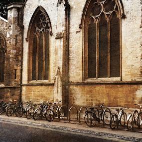 Bikes by Alexandra Rafaila - City,  Street & Park  Street Scenes ( old, building, uk, england, school, bike, brick, street, college, oxford, transportation,  )