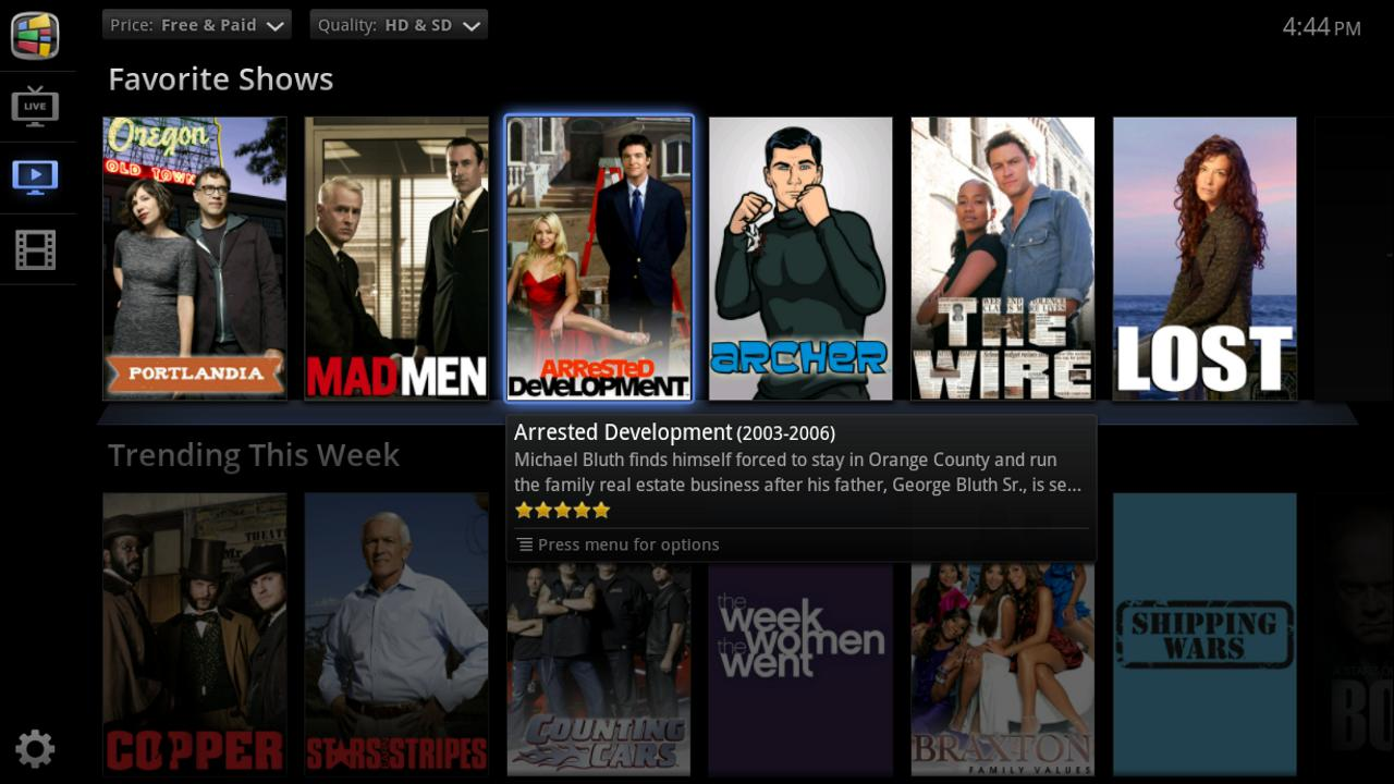 PrimeTime for Google TV - screenshot