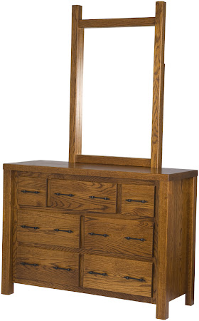 Ashton Horizontal Dresser with Mirror, Autumn Oak