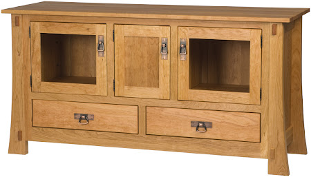 """60"""" wide x 30"""" high Seville Entertainment Center in Natural Cherry"""