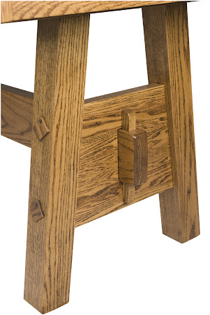 Geneva Table in Rustic Oak Leg Detail