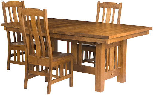 """60"""" x 42"""" Mission Table and Plains Mission Chairs in Rustic Oak"""