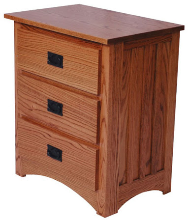 Mission Nightstand with Drawers, in Medium Oak