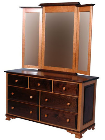 Prairie Horizontal Dresser with Mirror, in Natural Walnut and Maple