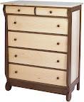 Classic Dresser, Hard Maple and Walnut, Natural Finish