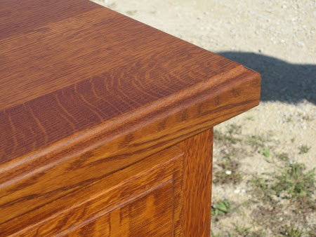 Lotus Vertical Dresser in Rustic Quarter Sawn Oak, Top Detail Closeup