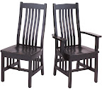 Raised Mission Dining Chair, Oak Hardwood, Distressed Midnight Finish