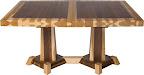 Turin 60 x 42 Dining Table, Custom Timber Edge, Custom Double Border Design, Hickory and Walnut Hardwood, Natural Finish