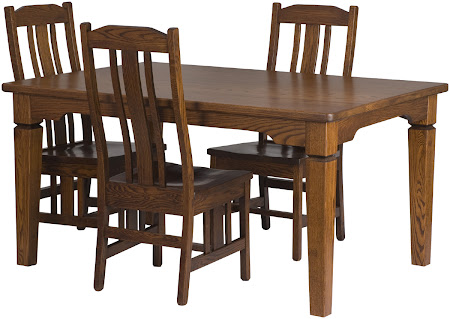 60 x 42 Harvest Dining Table, Plains Mission Dining Chairs, in Autumn Oak