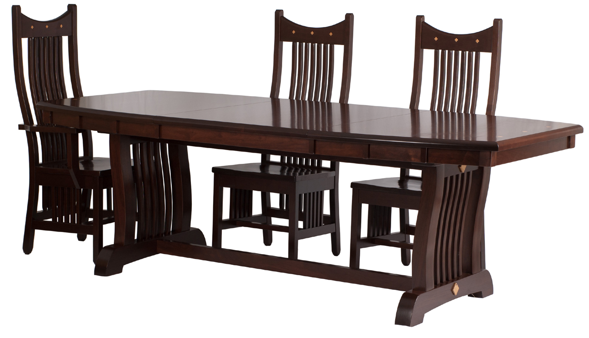 90 X 42 Western Dining Table And Western Chairs In Mocha Walnut. «»