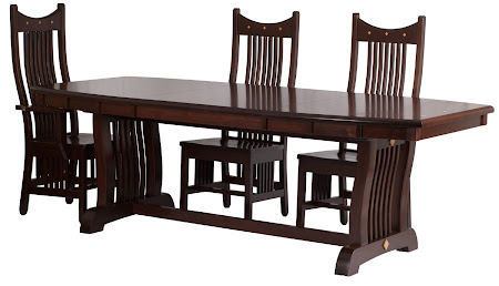 90 x 42 Western Dining Table and Western Chairs in Mocha Walnut
