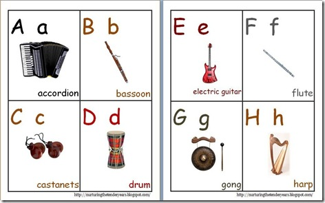 image about Abc Cards Printable titled Nurturing the gentle many years: Musical ABC playing cards (printable)