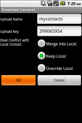 Synkontact - transfer contacts - screenshot