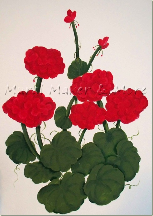 I Love Geraniums Red Ones Bright Know They Re Not In Season Yet But Needed To Paint A Sample For My Upcoming Cles At Parks Rec