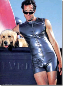 steve guttenberg shiny body suit and a dog
