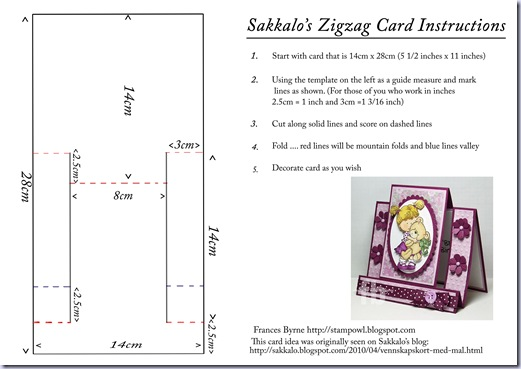 Sakkalo's Zigzag Card Instructions