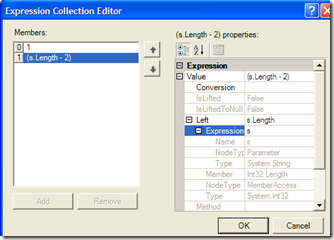 The Expression Collection Editor, showing the members and their hierarchical composition.