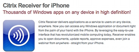 Citrix Receiver for iPhone