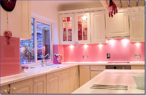 Pink Kitchen backsplash