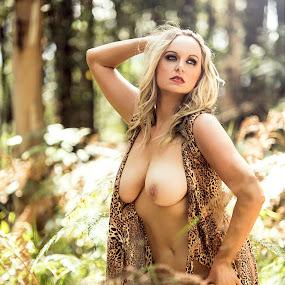 Amazon Woman by Kelly Kooper - Nudes & Boudoir Artistic Nude ( model, leopard print, topless, nude, forest )