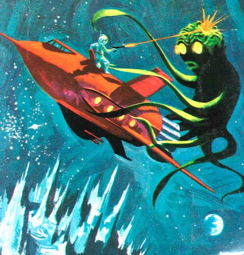 Rare Wonderful 1950s Space Art: Dark Roasted Blend: Retro Future: To The Stars!