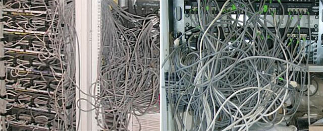 we'll start with a few classic photos that show the ultimate mess (with or  without a poor sysadmin to blame) -