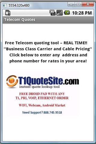 Free Telecom Quoting Tool - screenshot