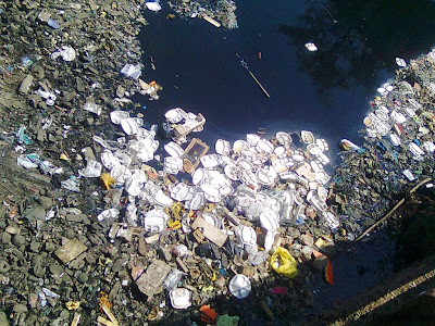 Floating Plastic Waste In Sewage