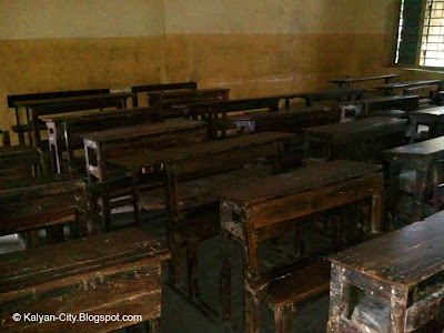 wooden benches inside classroom