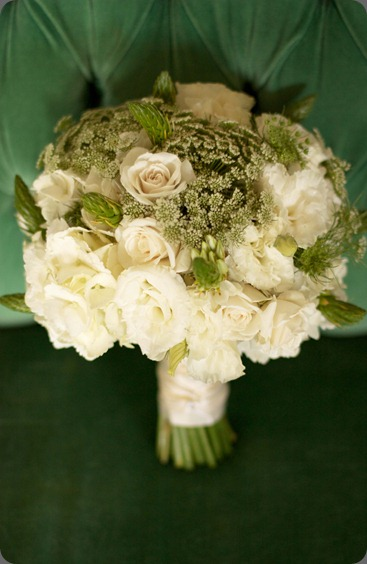 green_and_white_bouquet-2  white lisianthus, white spray roses, Queen Anne's Lace and white ornithogalum. botanica