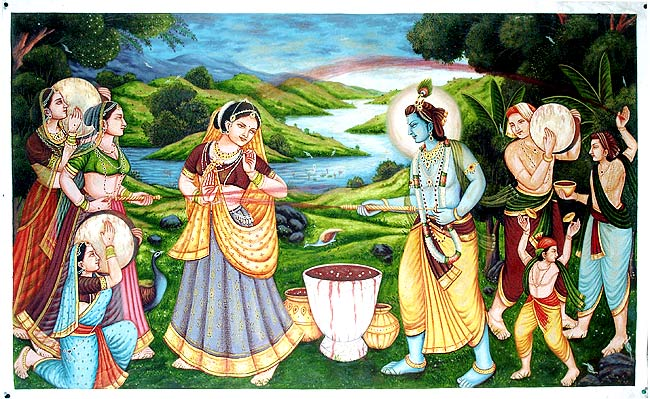 Radha Krishna ki Rangbhari Ras Leela ...Holi  IMAGES, GIF, ANIMATED GIF, WALLPAPER, STICKER FOR WHATSAPP & FACEBOOK