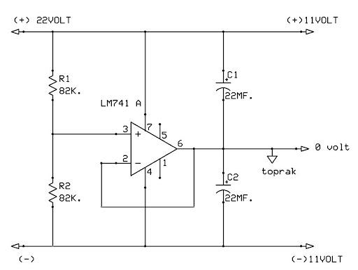 lm741 simetrik besleme devresi