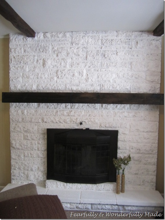 How to update an old brick fireplace with a slip covered mantel