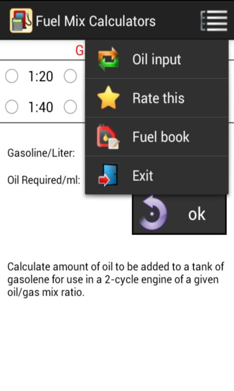 Gas/Oil Fuel Mix Calculators - screenshot