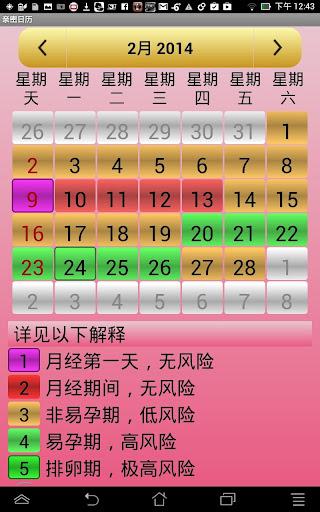 计算器和排卵的日历