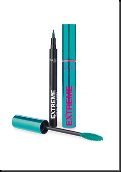 Extreme Mascara & Eyeliner Teal_brush out of pack_on white